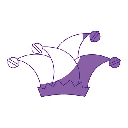 Harlekijnhoed pictogram over witte achtergrond vectorillustratie Stock Illustratie
