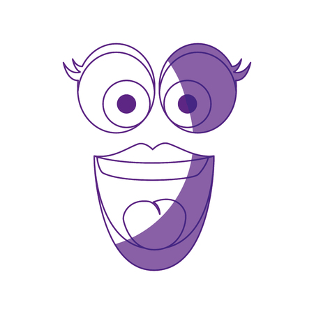 hilarious: Comic face with big eyes and smiling icon over white background. vector illustration