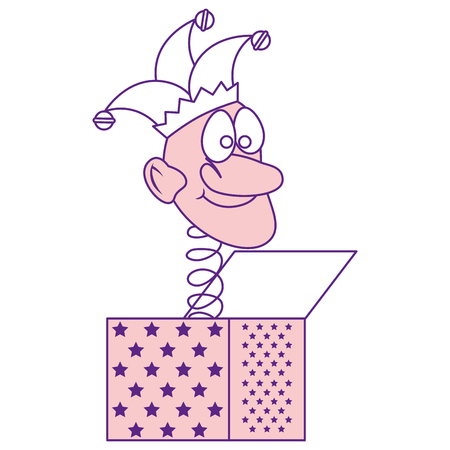 grap doos met Cartoon harlequin pictogram op witte achtergrond. vectorillustratie Stock Illustratie