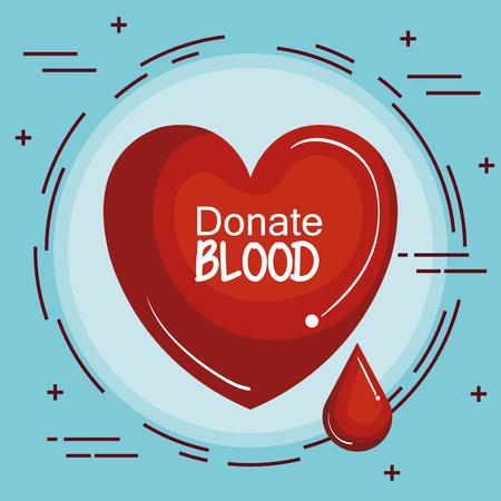 Rood hart en bloeddruppelpictogram over blauwe vectorillustratie als achtergrond