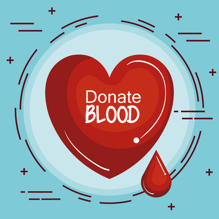 Red heart and blood drop icon over blue background vector illustration
