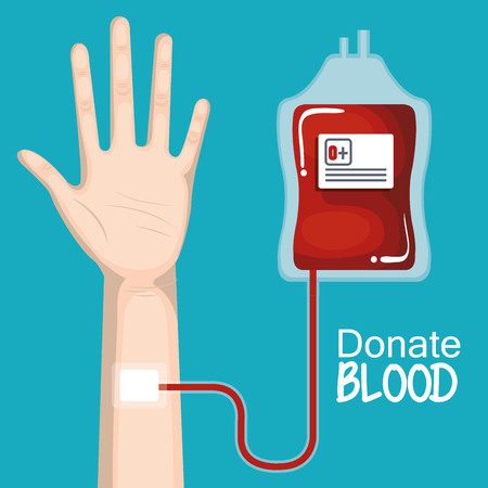 transfusion: Hand and blood unit with donate blood sign over blue background vector illustration