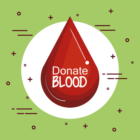 Red drop icon with donate blood sign over green background vector illustration