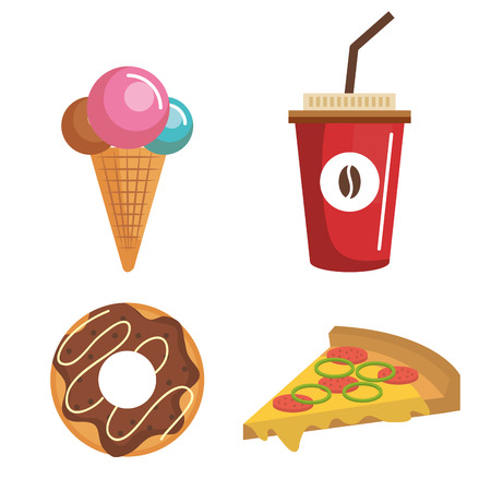 Colorful sweet food and pizza over white background vector illustration Çizim