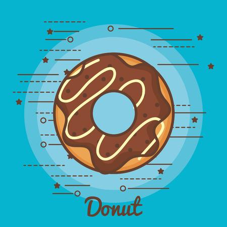青色の背景のベクトル図の上のカラフルなチョコレート ドーナツ