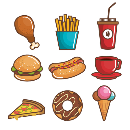 Colorful fast food over white background vector illustration