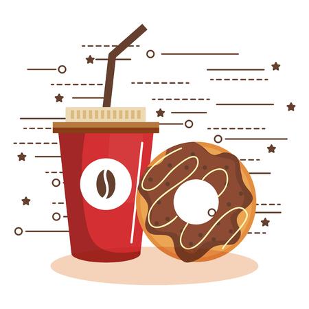 カラフルなアイス コーヒー カップとドーナツ ホワイト バック グラウンド上のベクトル イラスト