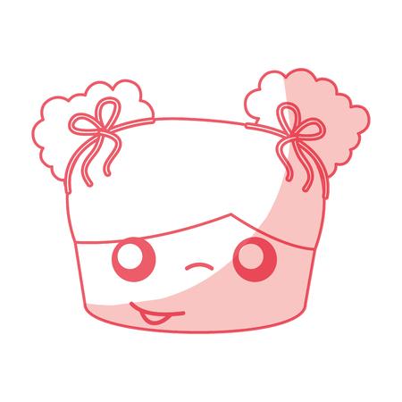 cute girl head drawing character vector illustration design Illustration