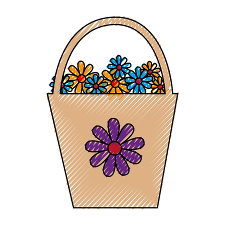 plastic pot with flowers vector illustration design Çizim