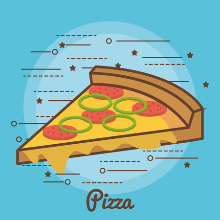 Colorful pizza over blue background vector illustration