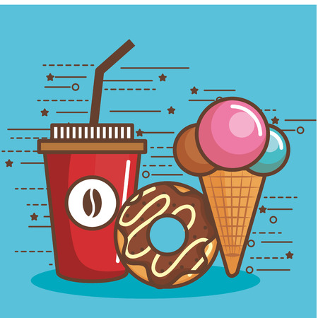 Cup of iced coffee donut and ice cream cone over blue background vector illustration Illustration