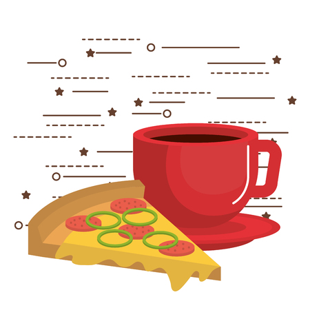 Cup of coffee and pizza over white background vector illustration