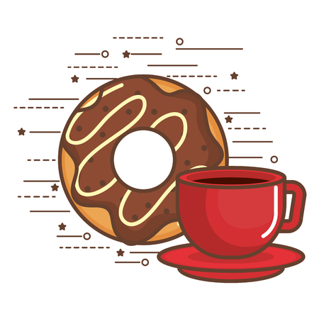 Cup of coffee and donut over white background vector illustration