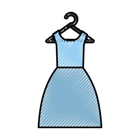 Traje femenino que cuelga en diseño del ejemplo del vector del gancho Foto de archivo - 79589583