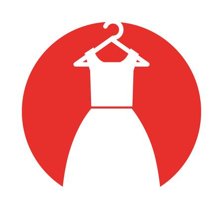Traje femenino que cuelga en diseño del ejemplo del vector del gancho Foto de archivo - 79590308