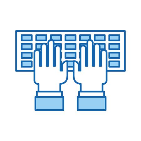 computer keyboard with hands user vector illustration design