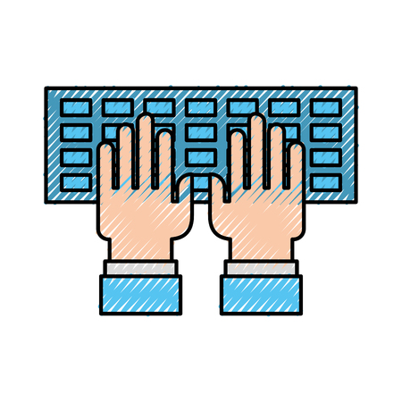 computer keyboard with hands user vector illustration design