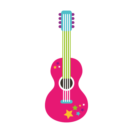 guitar hippie style icon vector illustration design