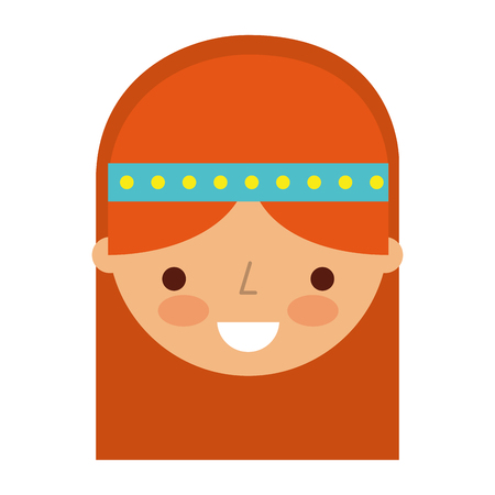 woman hippie lifestyle character vector illustration design