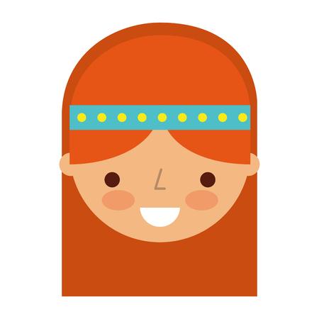 Vrouw hippie levensstijl karakter vector illustratie ontwerp