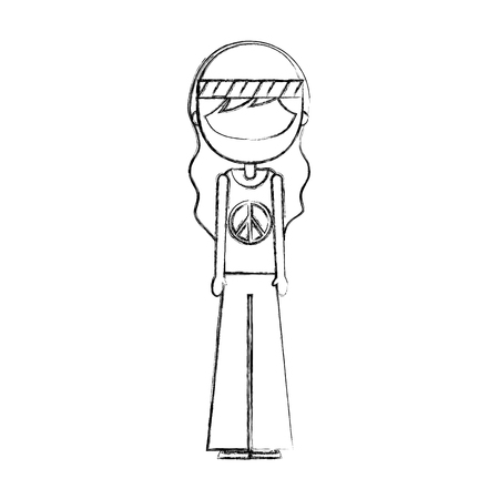 ontwerp van de het karakter het vectorillustratie van de mensenhippie levensstijl Stock Illustratie