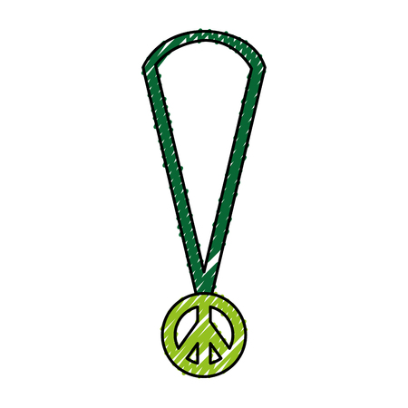 necklace with peace symbol isolated icon vector illustration design Illustration