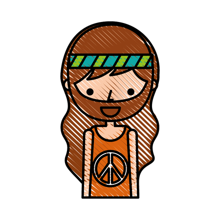 man hippie lifestyle character vector illustration design