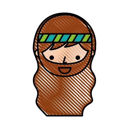 男ヒッピー ライフ スタイル文字ベクトル イラスト デザイン