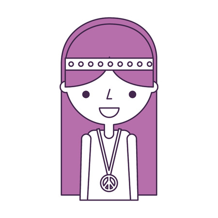 女性ヒッピー ライフ スタイル文字ベクトル イラスト デザイン