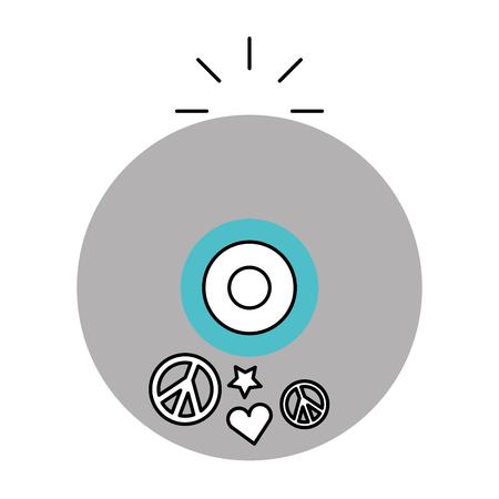 hippie long play icon vector illustration design