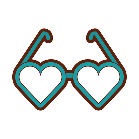 Eyeglasses with heart shape vector illustration design
