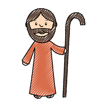 catholicism: saint joseph manger character vector illustration design Illustration