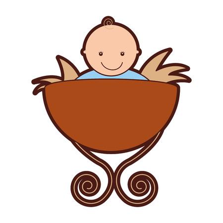 Jesus baby in Straw Cradle Manger vector illustratie ontwerp