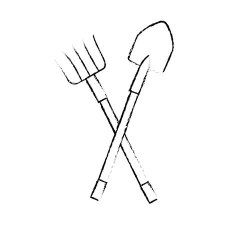 Rake and shovel gardening tools icon vector illustration graphic design Illustration