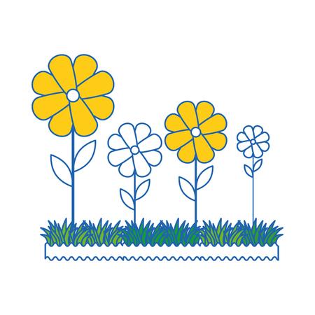 Bellissimi fiori giardinaggio icona illustrazione vettoriale illustrazione grafica Archivio Fotografico - 79756356