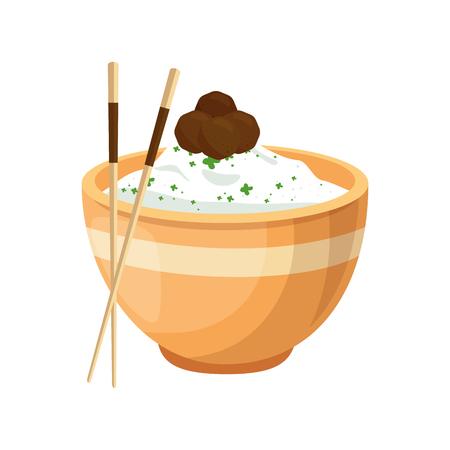 fried shrimp: Chinese rice food icon vector illustration graphic design Illustration