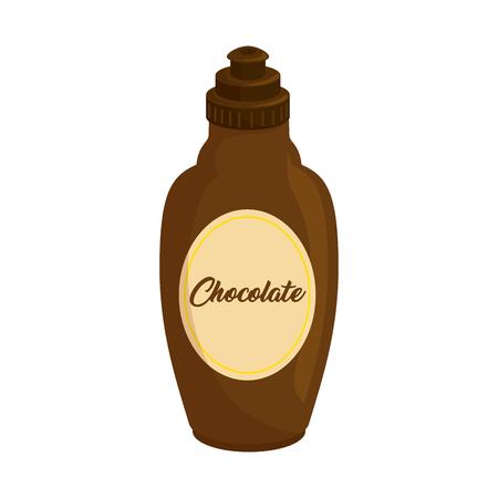 Salsa al cioccolato in bottiglia icona illustrazione vettoriale illustrazione grafica Archivio Fotografico - 79759474