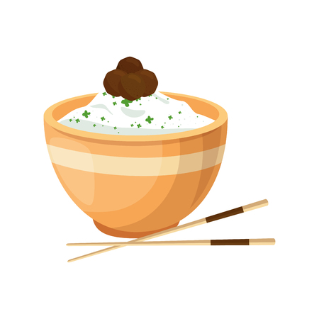 Chinese rijst voedsel pictogram vector illustratie grafisch ontwerp