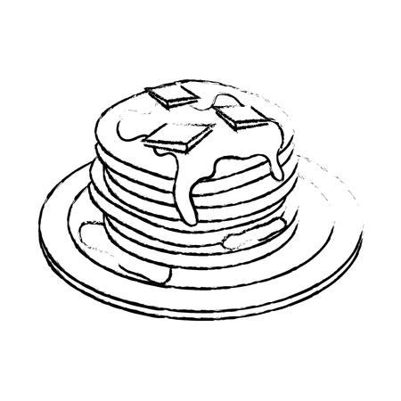 Delicioso panqueques desayuno icono ilustración vectorial diseño gráfico Foto de archivo - 79759870