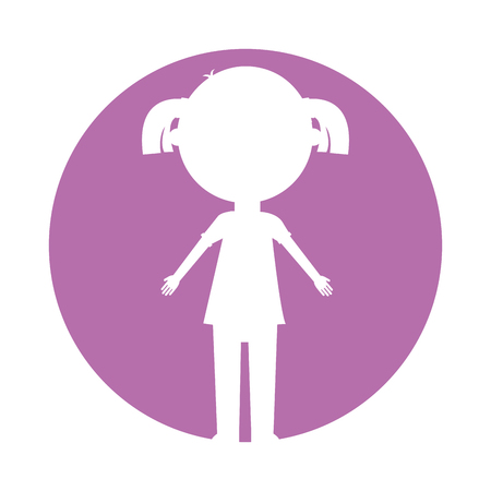 little girl silhouette avatar character vector illustration design