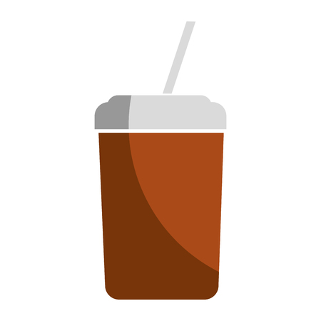 plastic cup with straw icon vector illustration design