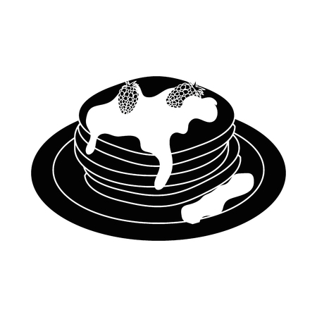 Delicious pancakes breakfast icon vector illustration graphic design