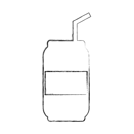 Canned drink with straw vector illustration design