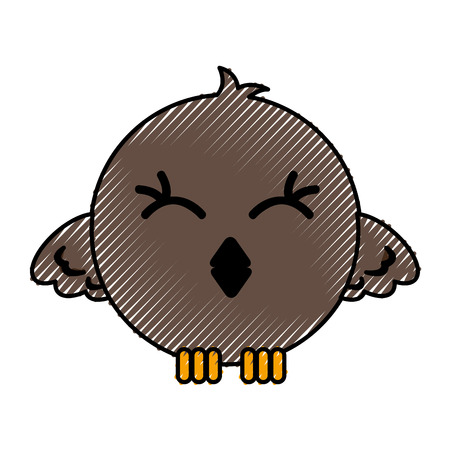 cute bird expression comic vector illustration design