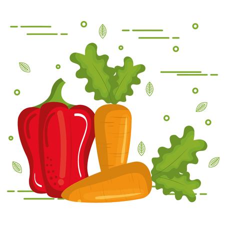 Colorful vegetables over white background vector illustration
