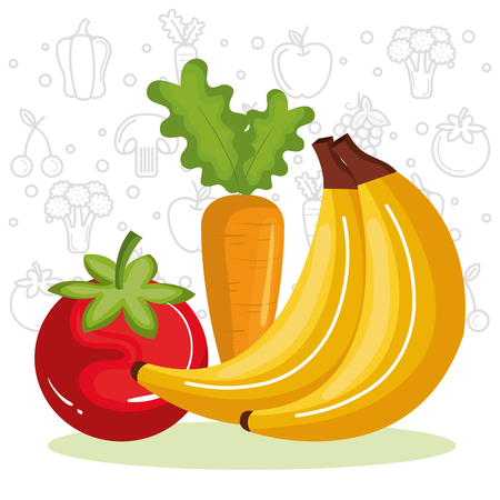 Colorful fruits and vegetables over white background with hand drawn related objects vector illustration