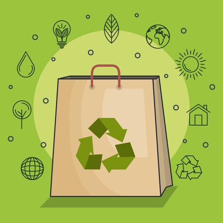 La bombilla con la flecha recicla símbolo y los iconos ecofriendly dibujados mano sobre la ilustración del vector del fondo verde Foto de archivo - 79760606