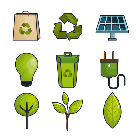 Colorful eco friendly icons over white background vector illustraition Illustration