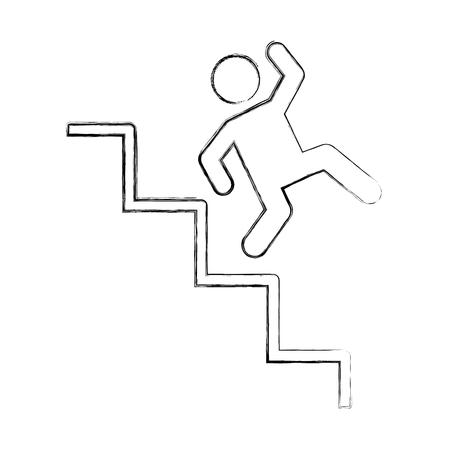 Ongeval op ladder verzekering pictogram vector illustratie ontwerp Stock Illustratie