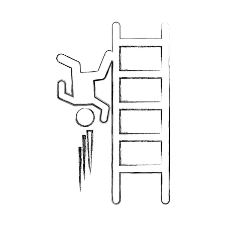 Accident on ladder insurance icon vector illustration design Иллюстрация